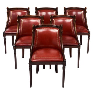 Set of 6 French Empire Style Barrel Swan Chairs