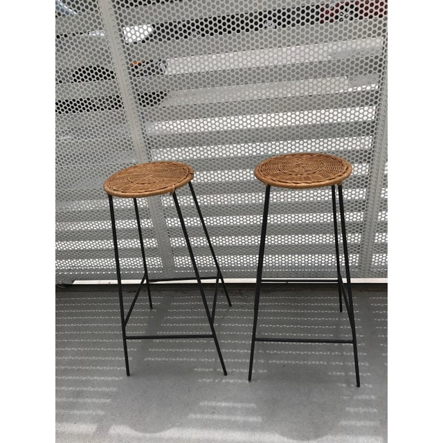 Mid-Century Wicker & Iron Stools - A Pair - Image 2 of 6