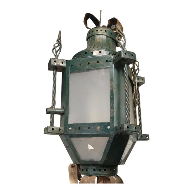 Image of French Patinated Early 20th C. Iron Hanging Lantern