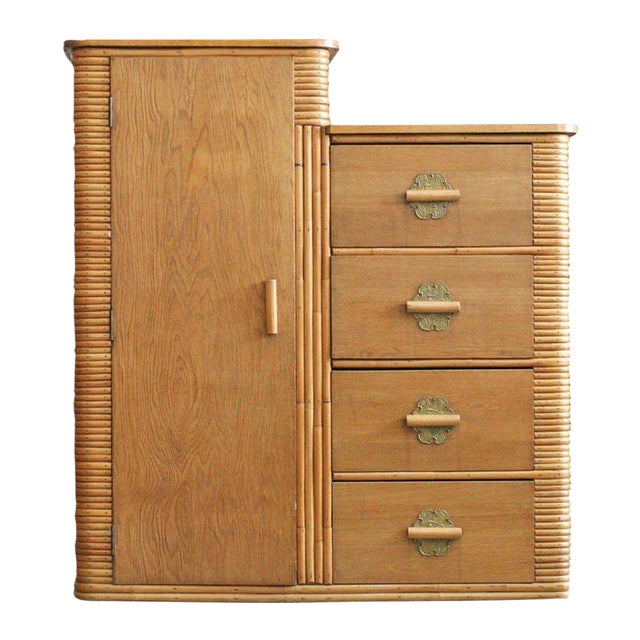 Image of Rare Vintage Stacked Rattan Armoire