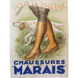 1930s French Art Deco Hunting Poster, Chaussures Du Marais
