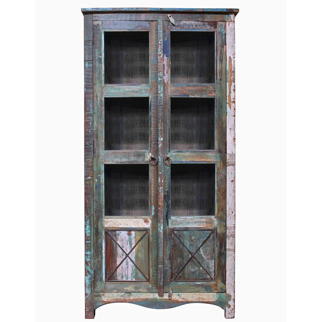 Tall Cactus Green Showcase Cabinet - Image 3 of 3