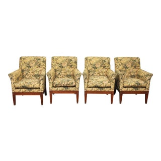 Floral Upholstered Chairs - Set of 4