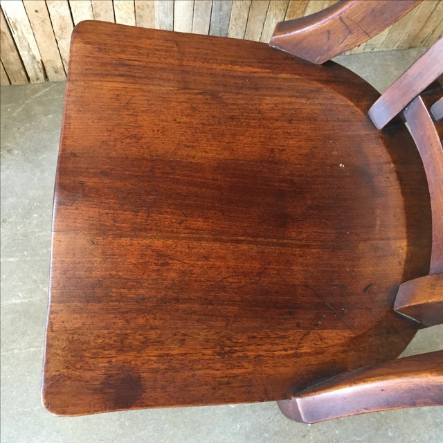 Antique Walnut Bankers Lawyers Office Chair - Image 4 of 10