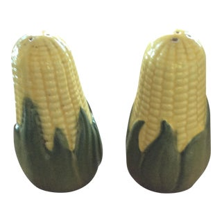 Majolica-Style Corn Cob Salt & Pepper Shakers - A Pair