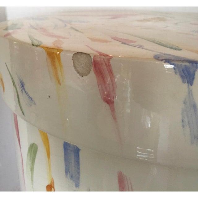 Italian Hand Painted Ceramic Stool - Image 6 of 7