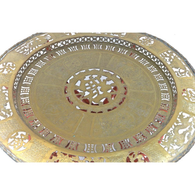 Chinese Brass Tray on Orange Stand - Image 7 of 8