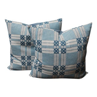 19th Century Woven Jacquard Coverlet Pillows