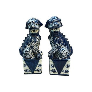 Chinese Blue & White Foo Dogs - Pair