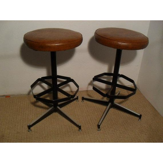 Vintage Mid-Century Modern Upholstered Iron Bar Stools -- A Pair - Image 2 of 5