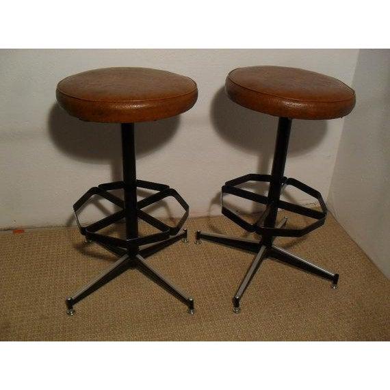 Image of Vintage Mid-Century Modern Upholstered Iron Bar Stools