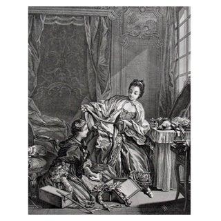 French Fashion Merchant Engraving, 1856