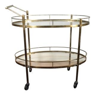 Vintage Mid-Century Solid Brass Bar Cart