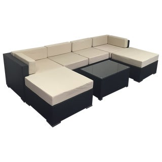 Beige Wicker Patio Set