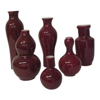 Oxblood Porcelain Vases - Set of 6