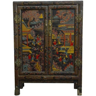 Antique Chinese Polychrome Scholars Bookcase Cabinet