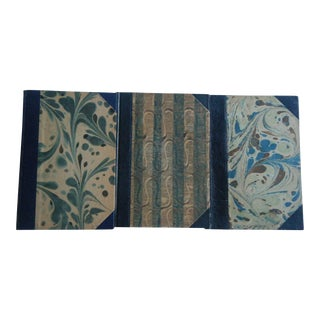 Vintage 1940s & 50s Decorative Blue Books, in Danish - Set of 3