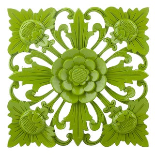 Retro Green Floral Wall Square, Large
