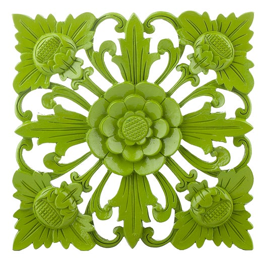 Image of Retro Green Floral Wall Square, Large