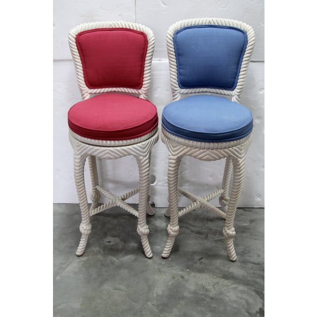 Image of Italian Carved Rope & Tassel Bar Stools - Pair