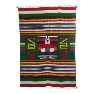 Vintage 1960's Hand Woven Mayan Zapotec Mexico Wool Blanket