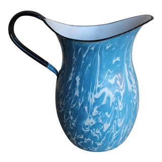French Porcelain Enamelware Blue & White Pitcher Jug