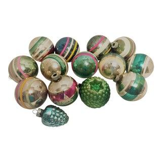 Vintage 1950s Shiny Brite Glass Ornaments - Set of 14