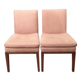 Edward Ferrell Brushed Leather Accent Chairs - A Pair