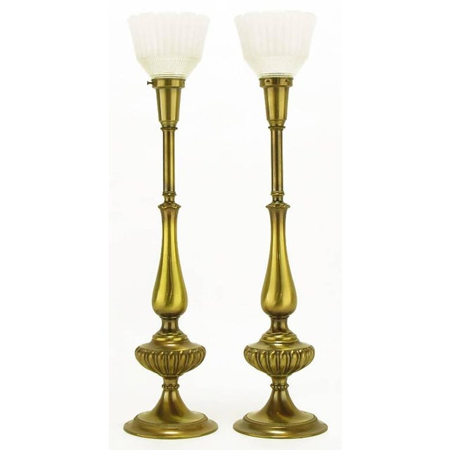 Image of Pair of Rembrandt Lighting Solid Brass Regency Table Lamps