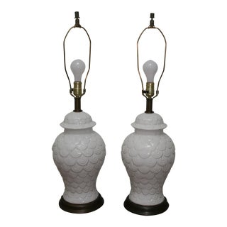 Vintage Fish Scale Table Lamps - A Pair