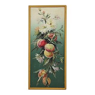 Antique English Framed Fruit & Floral Oil Painting