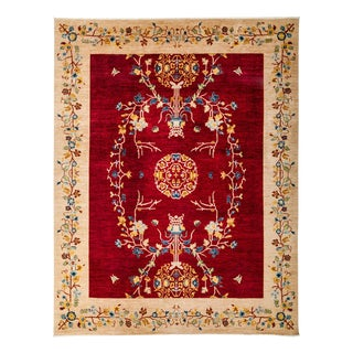 """Suzani Red Hand Knotted Area Rug - 8'10"""" X 11'6"""""""