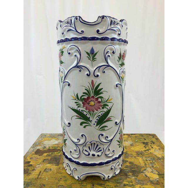 Hand Painted Ceramic Umbrella Stand or Tall Vase - Image 2 of 5