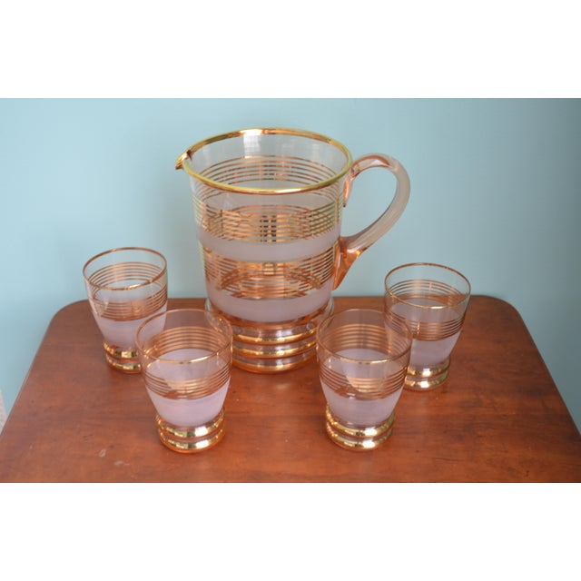 Gilt & Frosted Pitcher & Glasses Set - Image 5 of 5