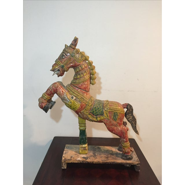 Indian Painted Wood Horse - Image 2 of 11