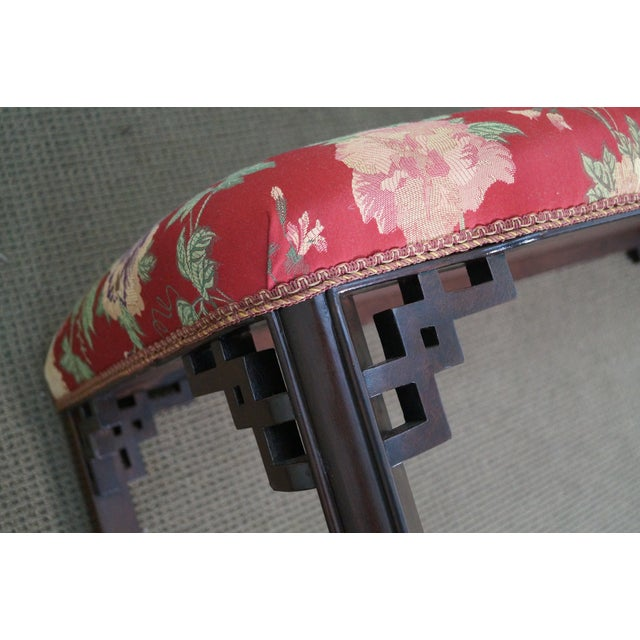 Vintage 1940s Mahogany Chippendale Style Bench - Image 8 of 10