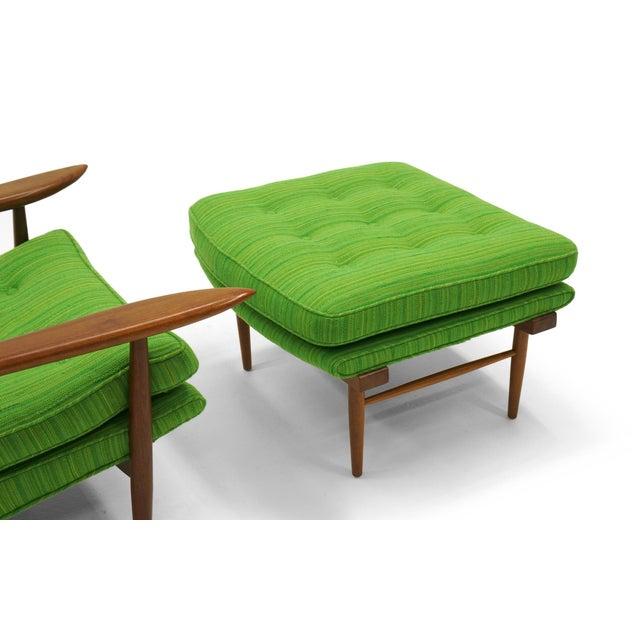 Rare George Nakashima for Widdicomb High Back Lounge Chair and Ottoman - Image 9 of 11