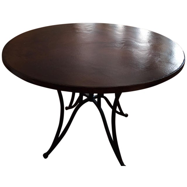 Arhaus Round Copper Top Iron Base Dining Table Chairish