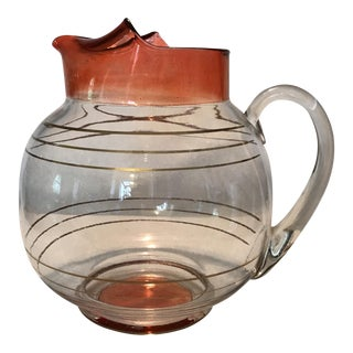 Cranberry & Gold Stripe Pitcher