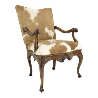 Forsyth One of a Kind 1770s Antique Italian Walnut Armchair in Brazilian Cowhide