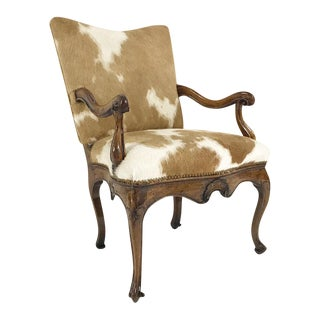 Forsyth One of a Kind 1770s Antique Italian Walnut Armchair in Brazilian Cowhide