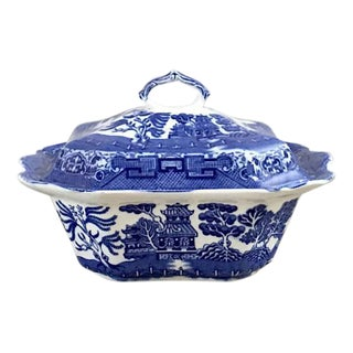 1930's English Blue Willow Covered Serving Dish