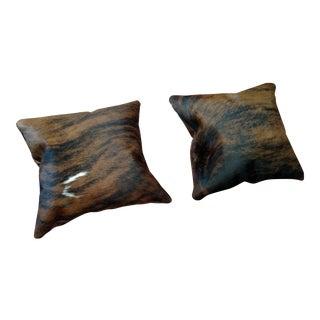 Modern Brindle Cowhide & Brown Leather Pillows - A Pair