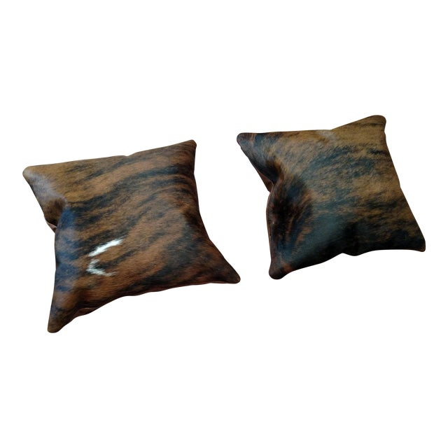 Modern Brindle Cowhide & Brown Leather Pillows - A Pair Chairish