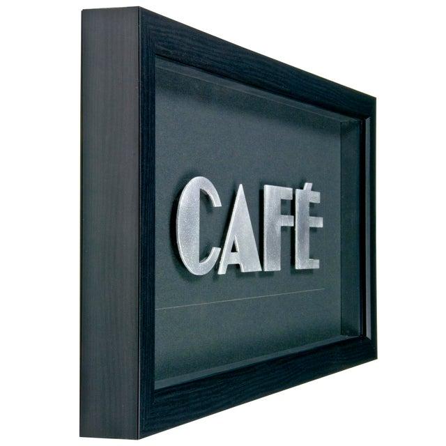 """Framed Vintage French Aluminum """"CAFE"""" Letters - Image 2 of 2"""