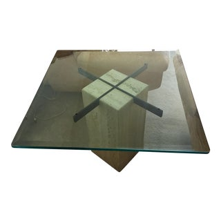 Travertine Base Glass End Table