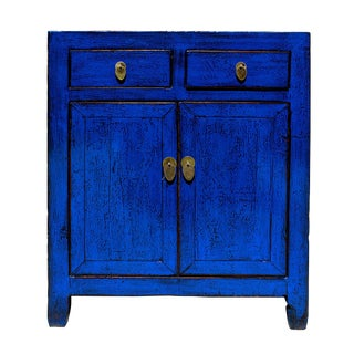 Oriental Simple Indigo Blue Credenza Side Table Cabinet