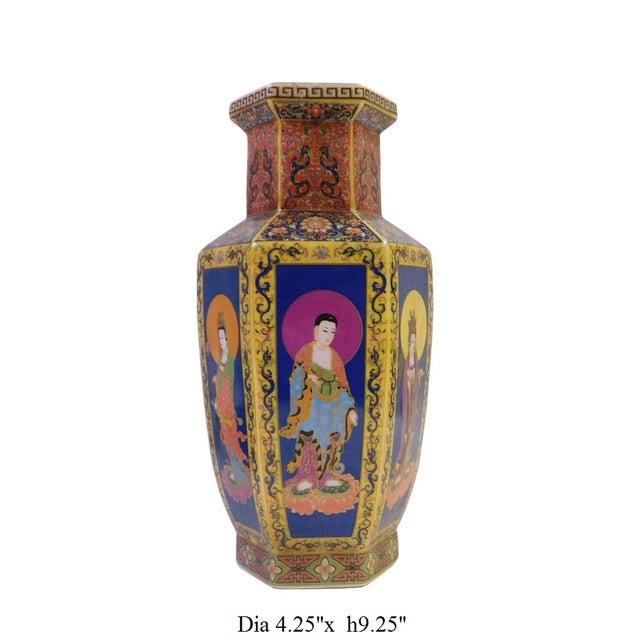 Hexagonal Porcelain Buddha Vase - Image 6 of 6