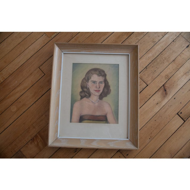 Vintage Framed Pastel Lady Portraits - Pair of 2 - Image 3 of 8
