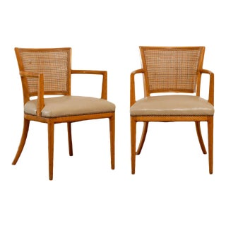 Pair of Cane Back Armchairs in the Style of Robsjohn--Gibbings